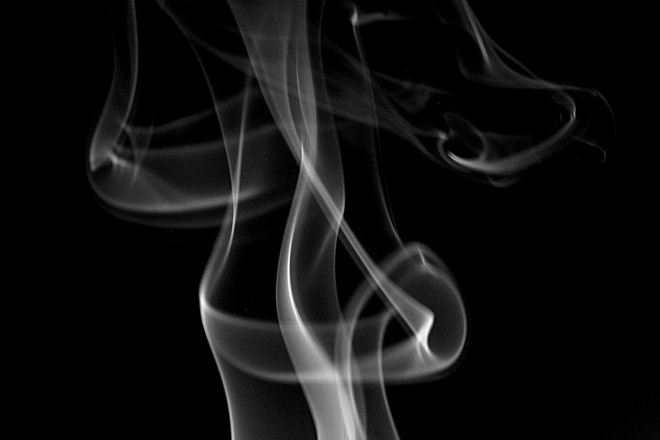 Trail of smoke in B&W
